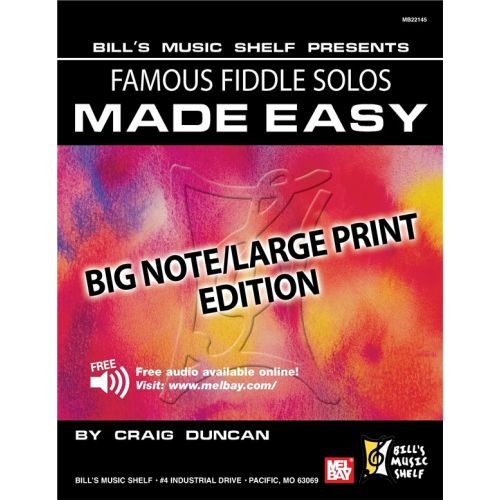 MEL BAY DUNCAN CRAIG - FAMOUS FIDDLE SOLOS MADE EASY - BIG NOTE/LARGE PRINT EDITION - VIOLIN