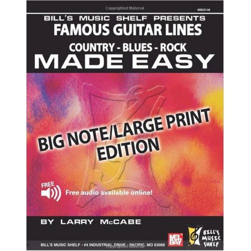 MEL BAY MCCABE LARRY - FAMOUS GUITAR LINES MADE EASY - BIG NOTE/LARGE PRINT EDITION - GUITAR