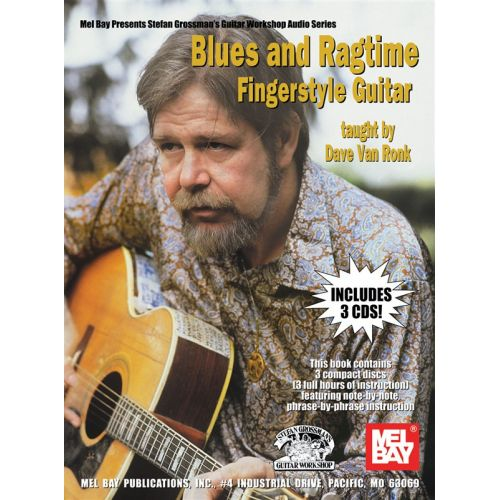 MUSIC SALES VAN RONK DAVE - BLUES AND RAGTIME FINGERSTYLE GUITAR - GUITAR