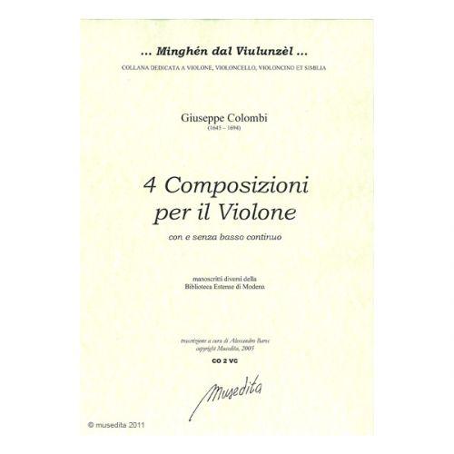 MUSEDITA COLOMBI G. - 4 COMPOSIZIONI PER IL VIOLONE - VIOLONCELLE