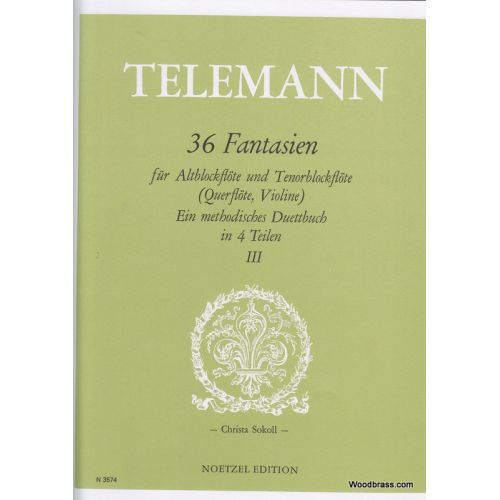 HEINRICHSHOFEN TELEMANN 36 FANTASIEN FüR ALTBFL UND TBFL (QUERFLöTE, VIOLINE) - III