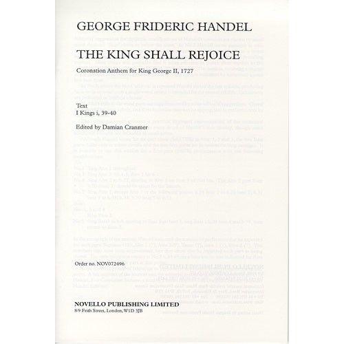 NOVELLO G.F. HANDEL THE KING SHALL REJOICE CHOR - CHORAL