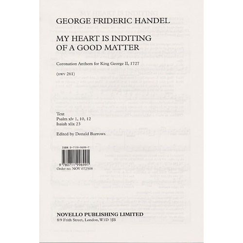 NOVELLO HANDEL - MY HEART IS INDITING OF A GOOD MATTER - SATB