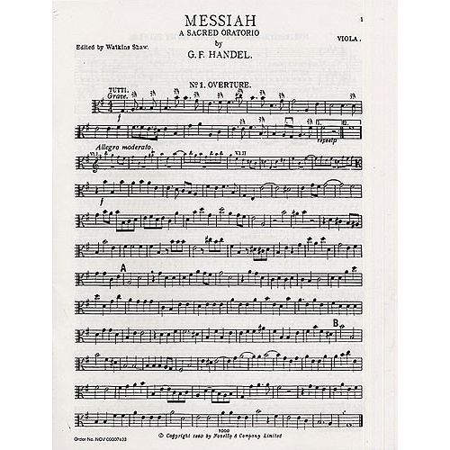 NOVELLO GEORGE FRIDERIC HANDEL - MESSIAH - VIOLA