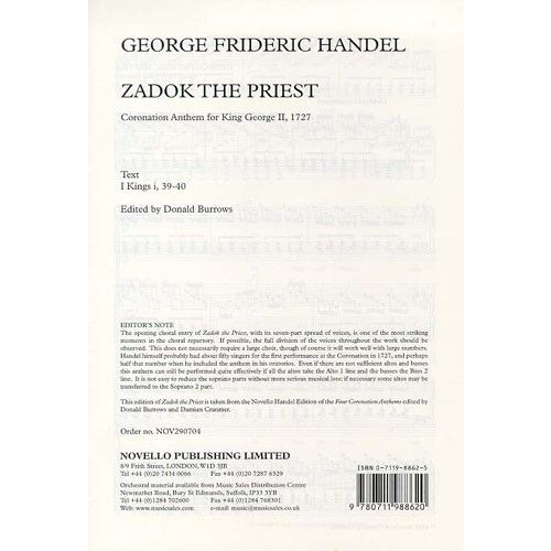 NOVELLO HANDEL ZADOK THE PRIEST - VOCAL SCORE - SATB