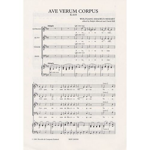 NOVELLO MOZART W.A. - AVE VERUM CORPUS - ORGAN ACCOMPANIMENT