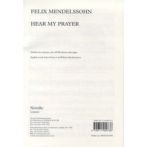 NOVELLO FELIX MENDELSSOHN - FELIX MENDELSSOHN - HEAR MY PRAYER - SOPRANO