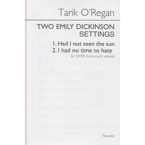 NOVELLO O'REGAN T. - TWO EMILY DICKINSON SETTINGS - CHOEUR