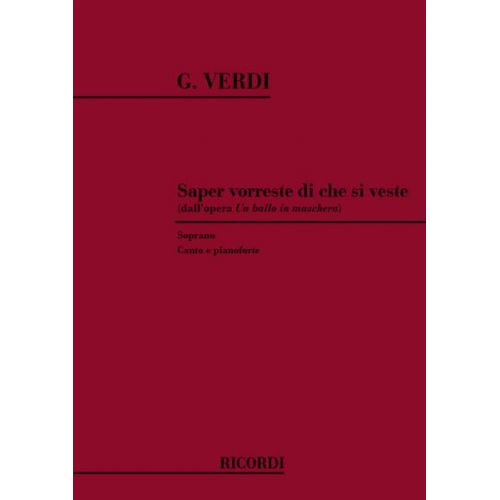 RICORDI VERDI G. - SAPER VORRESTE DI CHE SI VESTE - CHANT ET PIANO