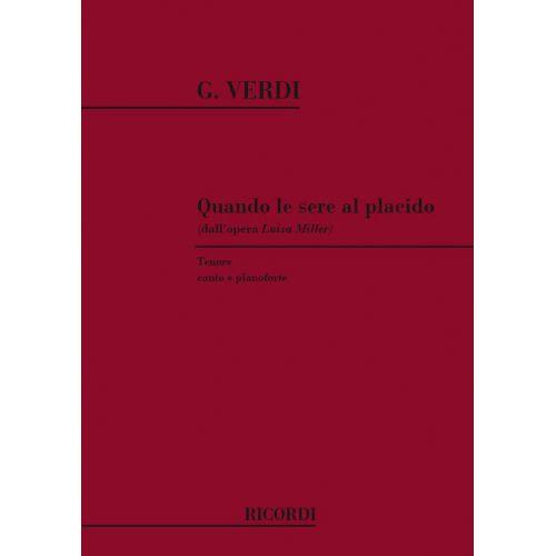 RICORDI VERDI G. - QUANDO LE SERE AL PLACIDO - CHANT ET PIANO