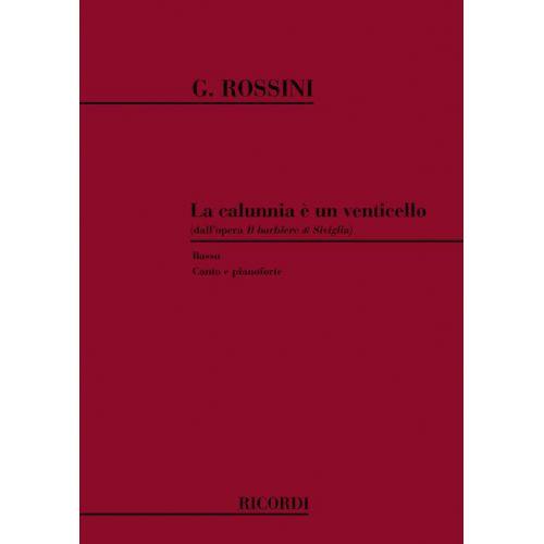 RICORDI ROSSINI G. - IL BARBIERE DI SIVIGLIA: LA CALUNNIA E' UN VENTICELLO - CHANT ET PIANO
