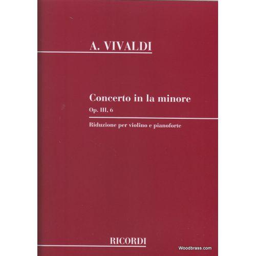 RICORDI VIVALDI A. - CONCERTO IN LA MIN., OP. III N. 6 RV 356 - VIOLON, CORDES ET BASSE CONTINUE