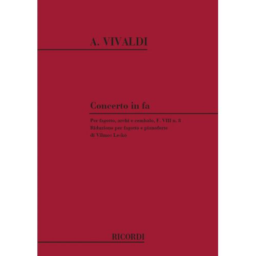 RICORDI VIVALDI A. - CONCERTI IN FA RV 485 - BASSON, CORDE ET BASSE CONTINUE