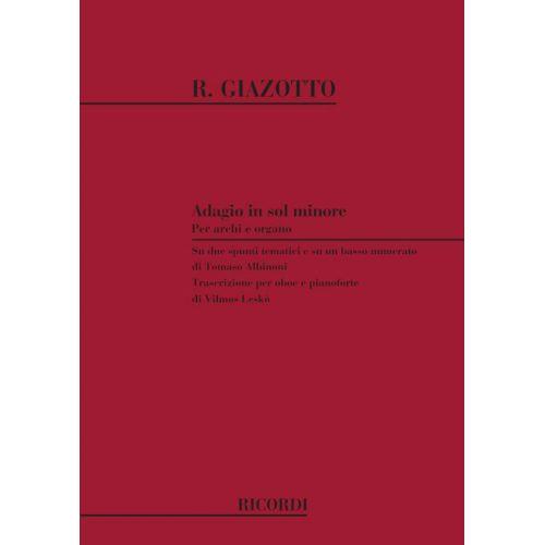RICORDI GIAZOTTO R. - ADAGIO IN SOL MIN. - HAUTBOIS ET PIANO
