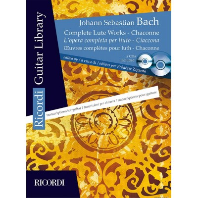 RICORDI BACH J.S. - OEUVRES COMPLETES POUR LUTH ADAPTEES POUR GUITARE + 2 CD