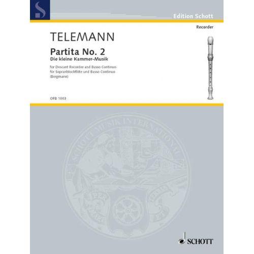 SCHOTT TELEMANN GEORG PHILIPP - PARTITA NO. 2 IN G - SOPRANO RECORDER AND BASSO CONTINUO