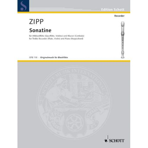 SCHOTT ZIPP FRIEDRICH - SONATINA OP 23A - TREBLE RECORDER (FLUTE, VIOLIN) AND HARPSICHORD (PIANO)