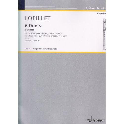 SCHOTT LOEILLET DE GANT JEAN BAPTISTE - SIX DUETS VOL. 2 - 2 TREBLE RECORDERS