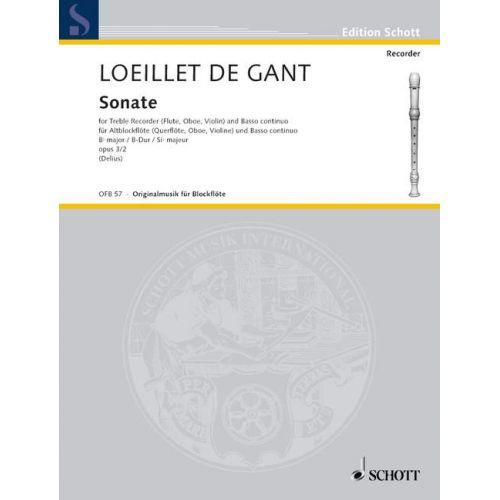 SCHOTT LOEILLET DE GANT J.B. - SONATA OP 3 - TREBLE RECORDER