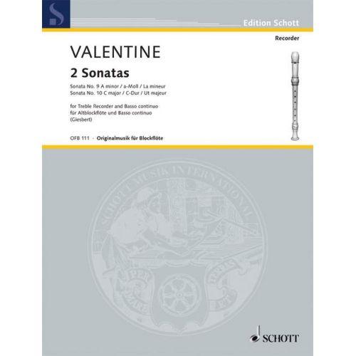 SCHOTT VALENTINE R. - 2 SONATAS - FLB ALTO ET BC