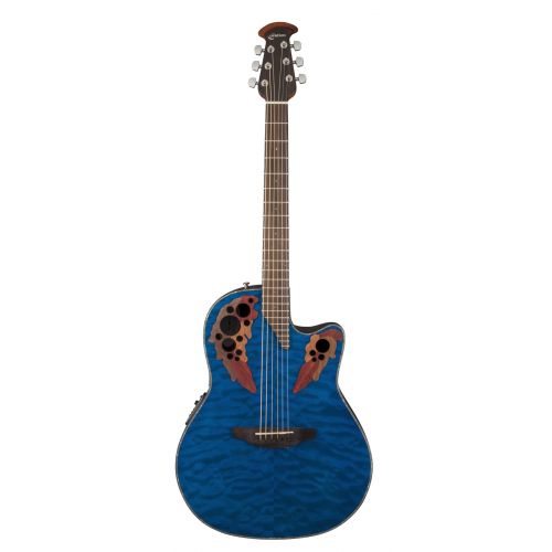 OVATION CELEBRITY ELITE PLUS CE44P8TQ TRANSBLUE QUILTED MAPLE