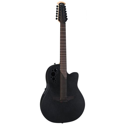 OVATION 2058TX-5 ELITE T DEEP CONTOUR CUTAWAY 12 BLACK TEXTURED