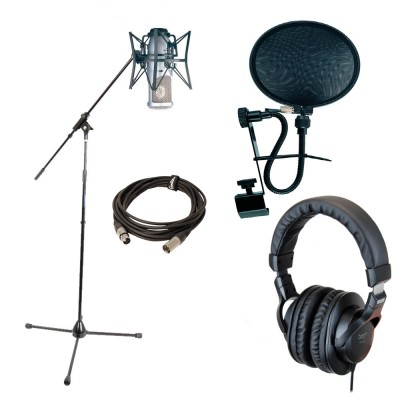 AKG PERCEPTION 220 + KOPFHÖRER + MIKRO STAND + KABEL + ANTI-POP FILTER