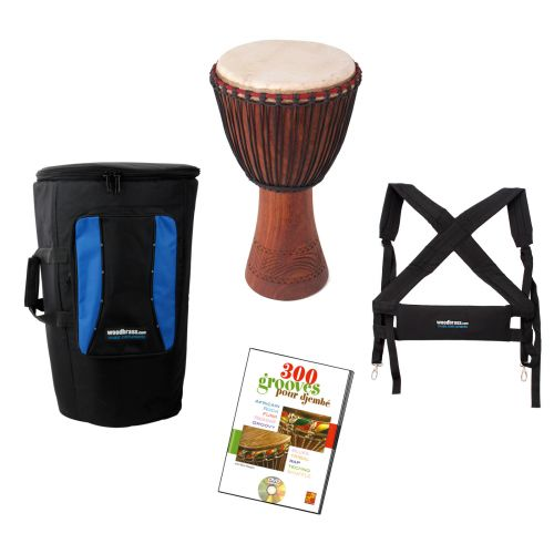 WAKA DRUMS LARGE DJEMBE + BAG + HARNESS + DVD
