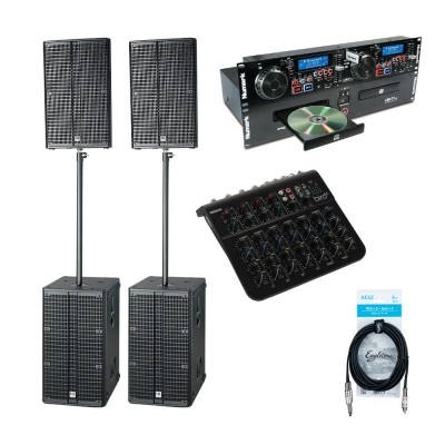 HK AUDIO SPEAKERS + MIXING DESK + DOUBLE CD PLAYER + CABLES
