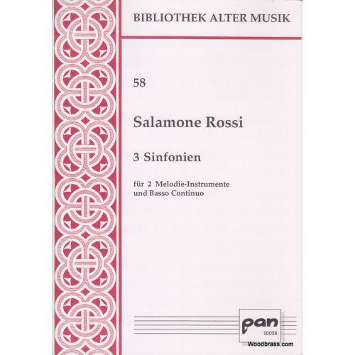 PAN VERLAG ROSSI SALAMONE - 3 Sinfonien für 2 Instrumente (S/S) und B. c.