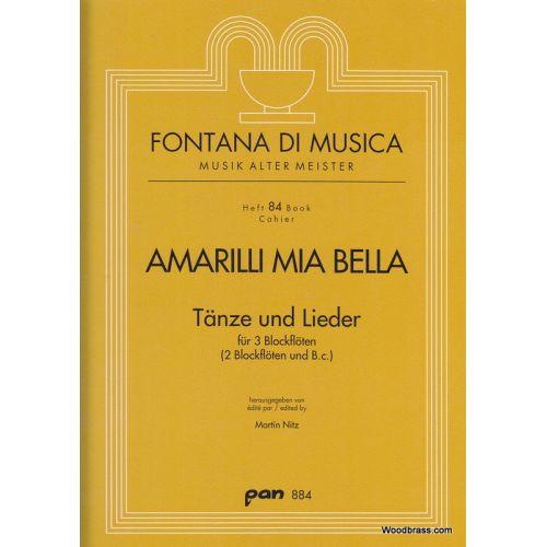 PAN VERLAG Amarilli mia bella - Tänze und Lieder für 3 Blockflöten(2 Blockflöten und B. c.)