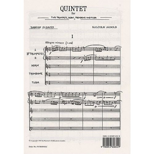 MUSIC SALES ARNOLD MALCOLM - QUINTET FOR 2 TRUMPETS, HORN, TROMBONE AND TUBA - STUDY SCORE