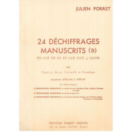 ROBERT MARTIN PORRET J. - VINGT-QUATRE DÉCHIFFRAGES MANUSCRITS (B)