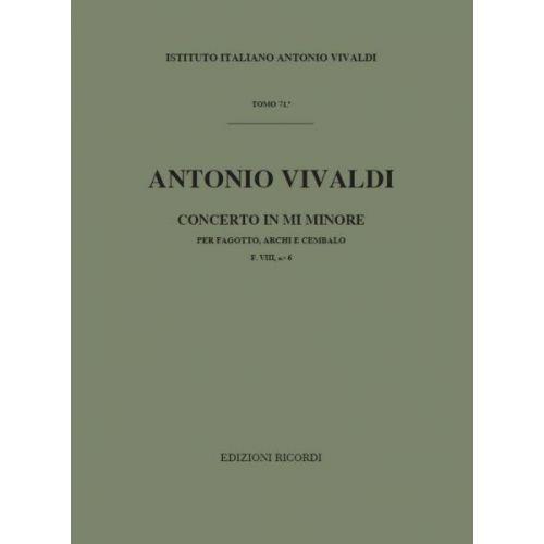 RICORDI VIVALDI A. - CONCERTO IN MI MIN. RV 484 - F.VIII/6 - BASSON