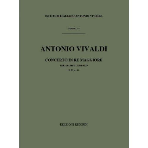 RICORDI VIVALDI A. - CONCERTO IN RE RV 123 - F.XI/16 - CORDES ET BASSE CONTINUE