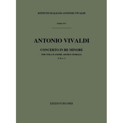 RICORDI VIVALDI A. - CONC. PER VLA D'AMORE, ARCHI E BC IN RE MIN. RV 770, F. II/3