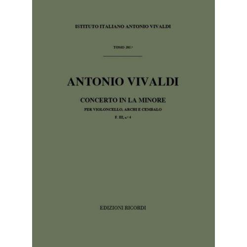 RICORDI VIVALDI A. - CONCERTI IN LA MIN. RV 422 - VIOLONCELLE, CORDES ET BASSE CONTINUE