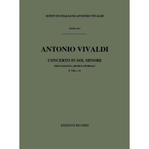 RICORDI VIVALDI A. - CONCERTO PER FG.ARCHI E B.C.: IN SOL MIN. RV 496 - F.VIII/11 - BASSON