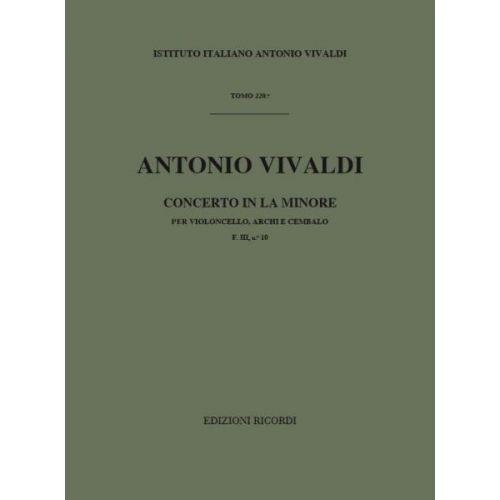 RICORDI VIVALDI A. - CONCERTO IN LA MIN. RV 419 - F.III/10 - VIOLONCELLE, CORDE ET BASSE CONTINUE