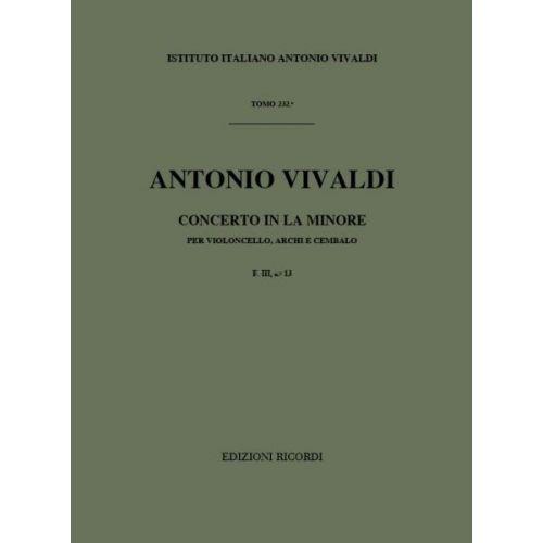 RICORDI VIVALDI A. - CONCERTO IN LA MIN. RV 421 - F.III/13 - VIOLONCELLE, CORDE ET BASSE CONTINUE
