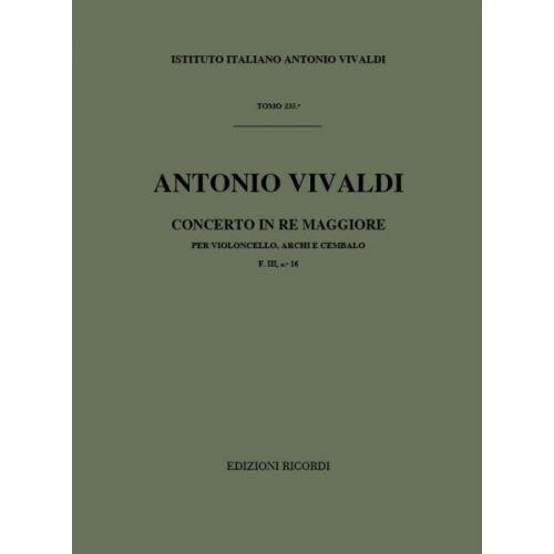 RICORDI VIVALDI A. - CONCERTI IN RE RV 403 - VIOLONCELLE, CORDES ET BASSE CONTINUE