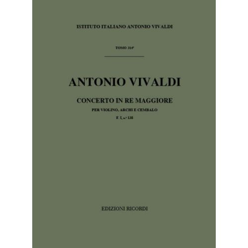 RICORDI VIVALDI A. - CONCERTO PER VIOLINO, ARCHI E CEMALO