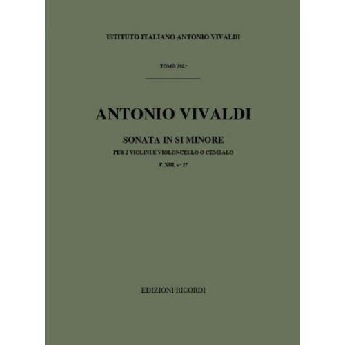 RICORDI VIVALDI A. - SONATE IN SI MIN. OP.I N.11 RV 79 - 2 VIOLONS