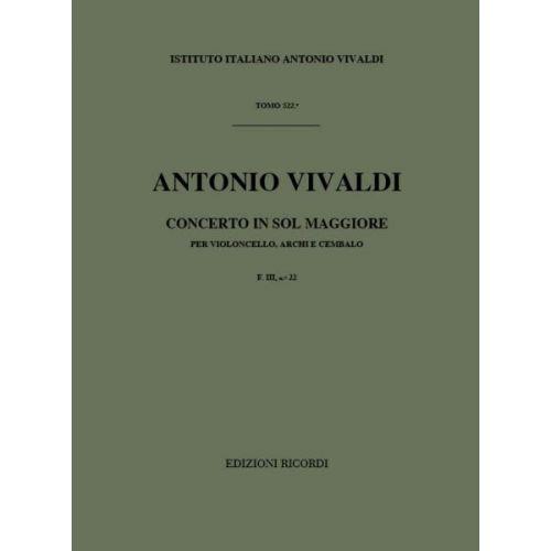 RICORDI VIVALDI A. - CONCERTI IN SOL RV 415 - VIOLONCELLE, CORDES ET BASSE CONTINUE