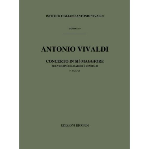 RICORDI VIVALDI A. - CONCERTI IN SI BEM. RV 423 - VIOLONCELLE, CORDES ET BASSE CONTINUE
