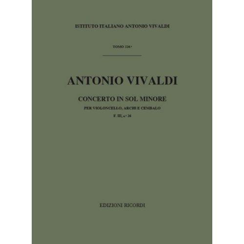 RICORDI VIVALDI A. - CONCERTO IN SOL MIN. RV 416 - F.III/26 - VIOLONCELLE, CORDE ET BASSE CONTINUE