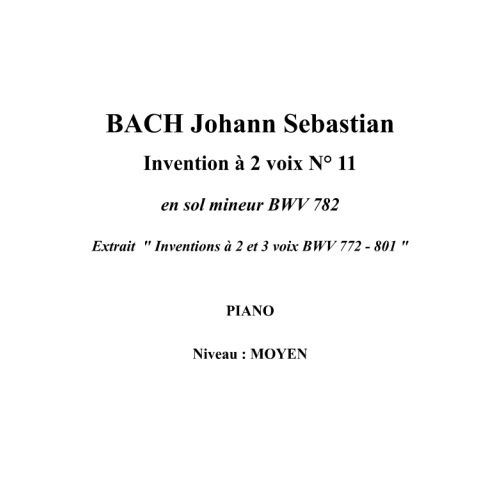 IPE MUSIC BACH J.S. - TWO PART INVENTION N° 11 IN G MINOR BWV 782 - PIANO