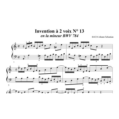 TWO PART INVENTION N° 13 IN A MINOR