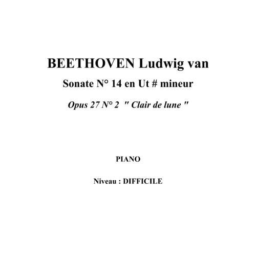 IPE MUSIC BEETHOVEN LUDWIG VAN - SONATA N° 14 IN C SHARP MINOR OPUS 27 N° 2  MOONLIGHT - PIANO
