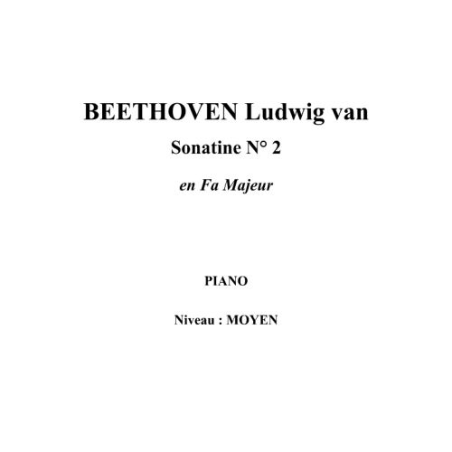IPE MUSIC BEETHOVEN LUDWIG VAN - SONATINA N° 2 IN F MAJOR - PIANO
